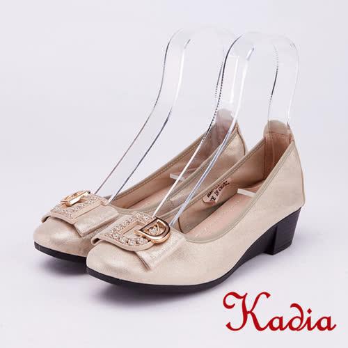 kadia.氣質高雅 水鑽飾釦羊皮包鞋(9057-31金色)