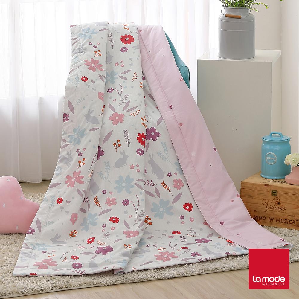La Mode寢飾 花花小兔環保印染100%特級精梳純棉涼被(單人)