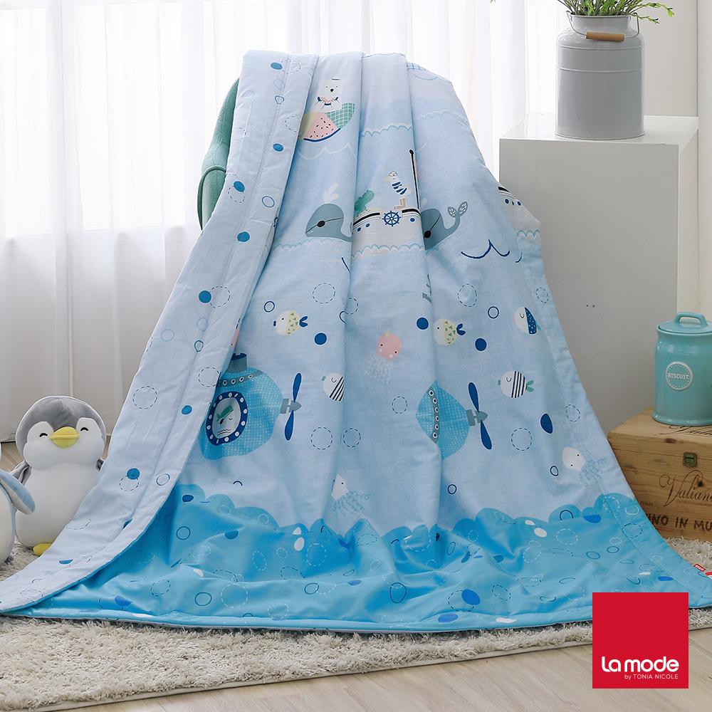 La Mode寢飾 海底探險環保印染100%特級精梳純棉涼被(單人)