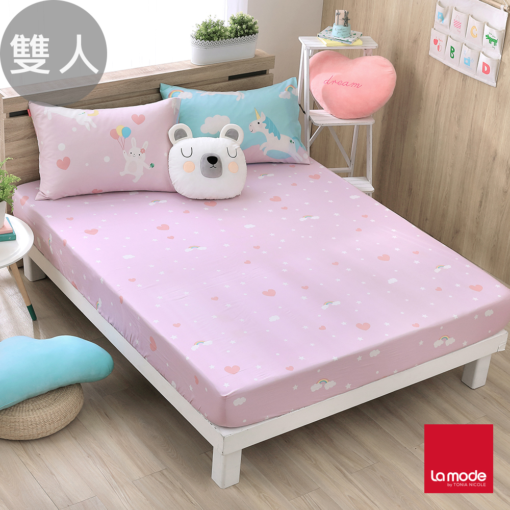 La Mode寢飾 親親獨角獸環保印染100%精梳棉床包枕套三件組(雙人)