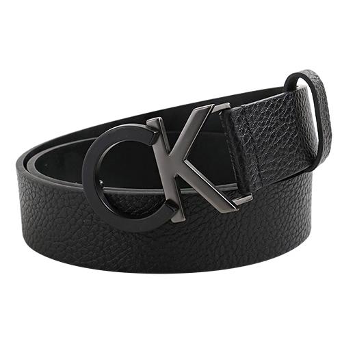 【Calvin Klein】雙色CK 大LOGO皮帶頭荔枝紋皮革皮帶34