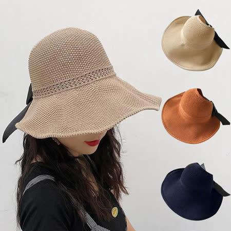 幸福揚邑 蝴蝶結空頂遮陽帽