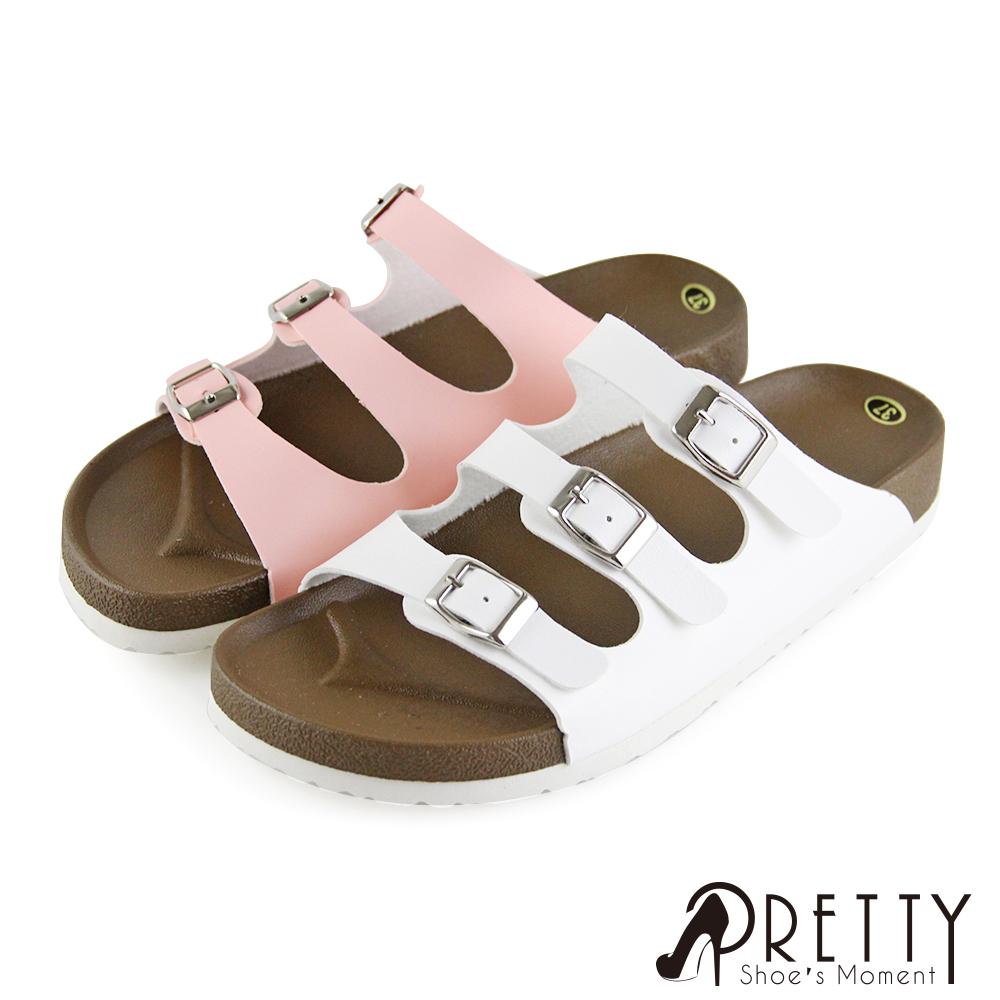 【Pretty】素面鏤空金屬皮帶釦平底拖鞋