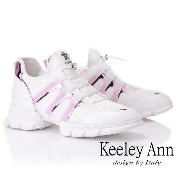 Keeley Ann輕運動潮流 炫彩拼接膠片元素休閒鞋(白色926772340-Ann系列)