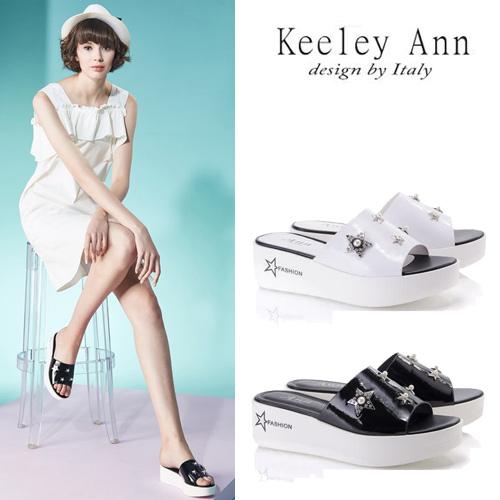 Keeley Ann個性玩酷~金屬星星寶石點綴厚底拖鞋(兩色任選8217772-Ann系列)