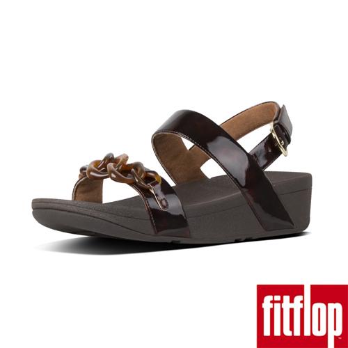 【FitFlop】LOTTIE TORTOISESHELL-CHAIN BACK-STRAP SANDALS 巧克力棕/ 玳帽紋