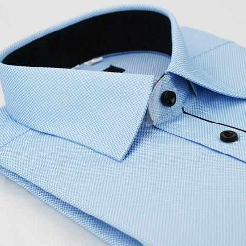 【金安德森】藍色細紋門襟黑配色窄版長袖襯衫