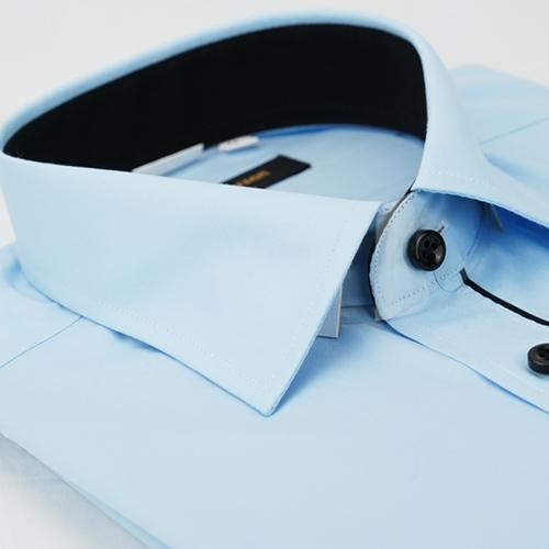 【金安德森】藍色門襟黑配色窄版長袖襯衫
