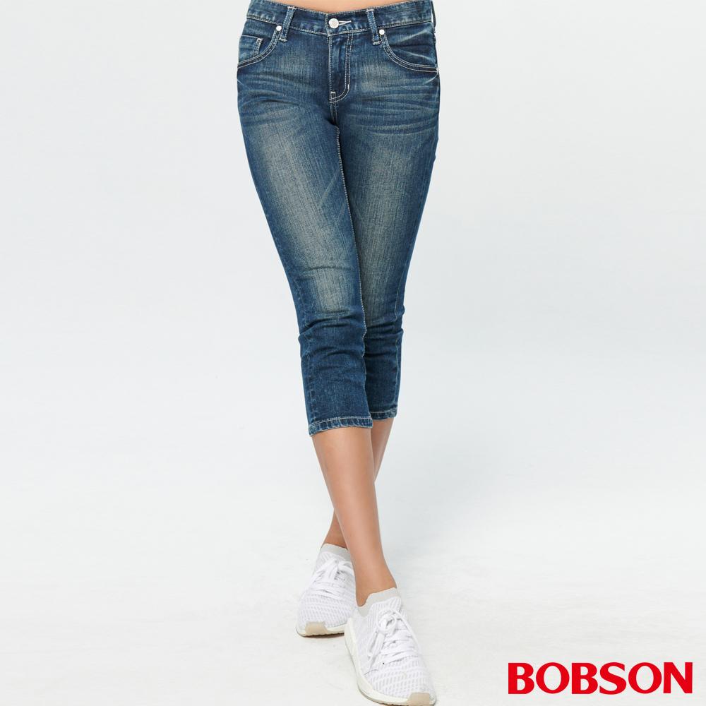 BOBSON 女款低腰涼爽紗牛仔七分褲(225-53)