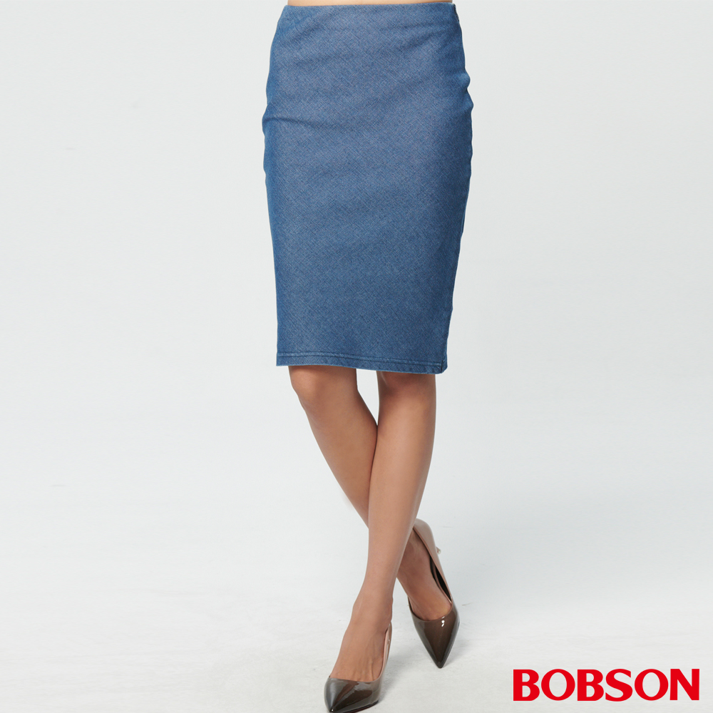 BOBSON 女款斜布.牛仔中長裙(D101-53)