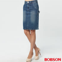 BOBSON 女款粗結紗牛仔中長裙(D096-53)