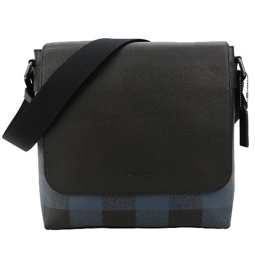 COACH 經典男用皮革格紋翻蓋斜背包(藍X黑)