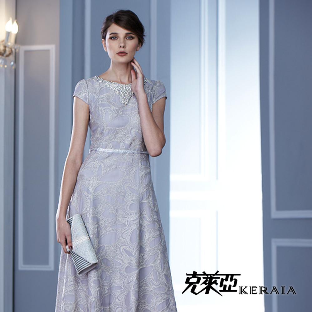【KERAIA 克萊亞】奢華緹花鑽飾長禮服