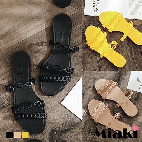 【Miaki】拖鞋.仲夏防水平底涼拖  (黑色 / 粉色 / 黃色)