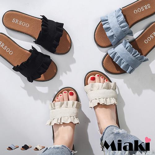 【Miaki】拖鞋.甜心韓妞平底涼拖  (黑色 / 米色 / 藍色)