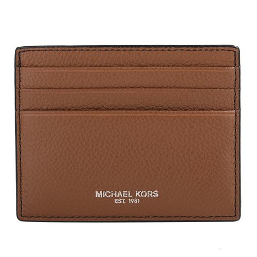 MICHAEL KORS-  銀字荔枝紋皮革卡片夾(駝)