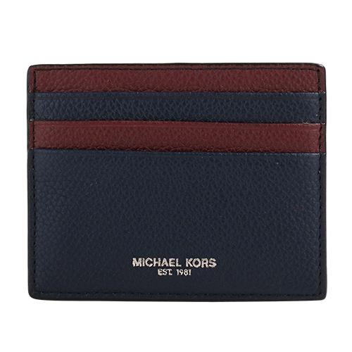 MICHAEL KORS- 銀字荔枝紋皮革卡片夾(海軍藍/暗紅)