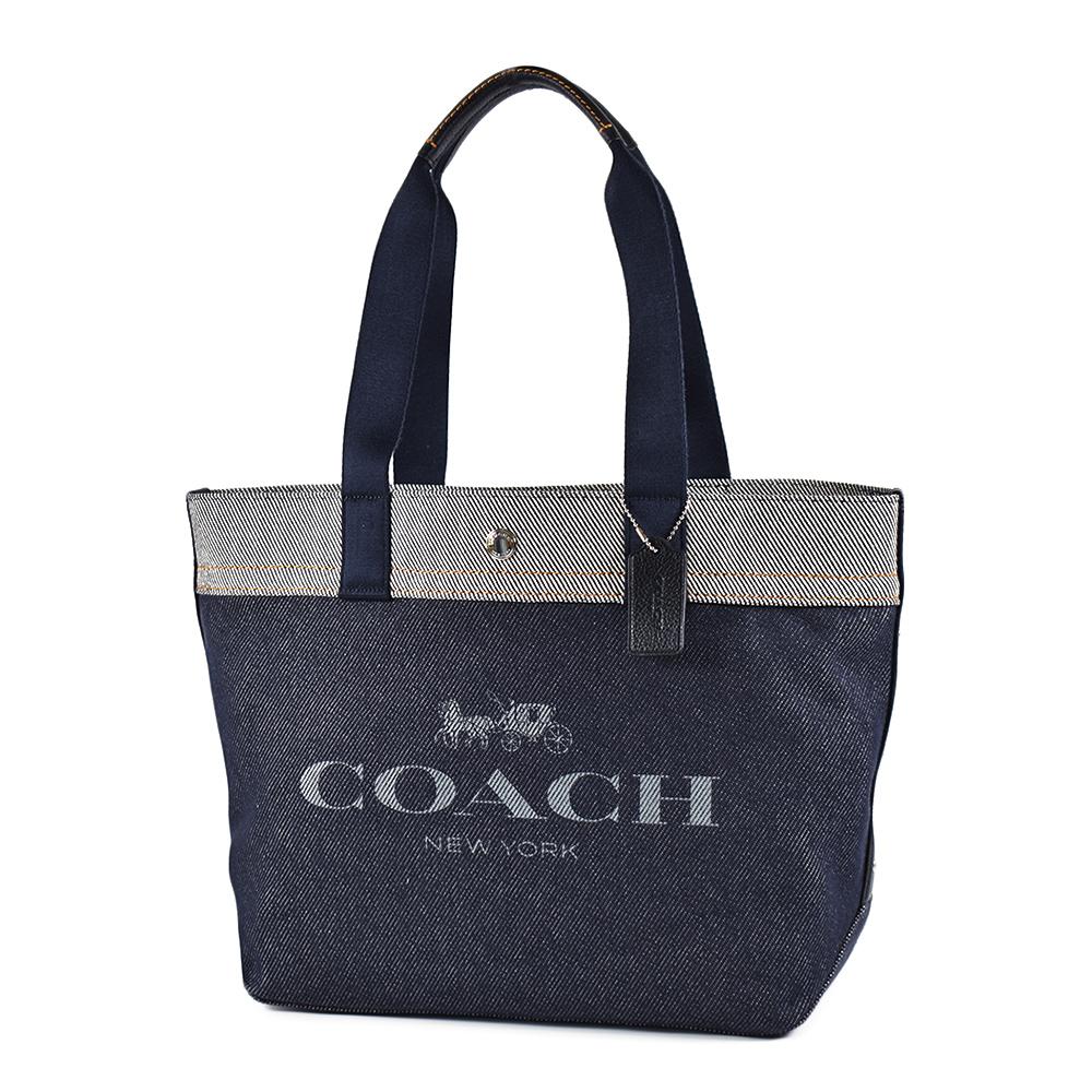 COACH 配色單寧牛仔經典馬車釦式托特包-深藍色