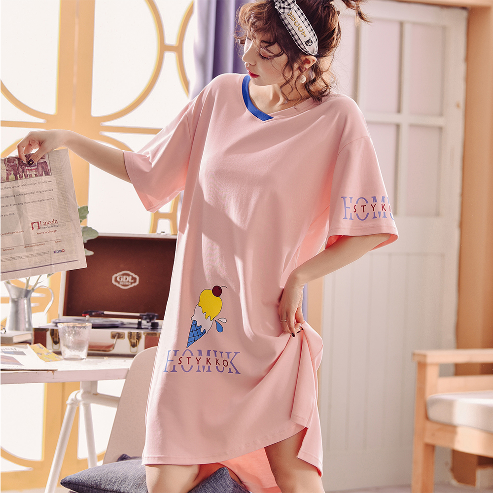 【Wonderland】櫻桃冰淇淋100%棉睡衣洋裝