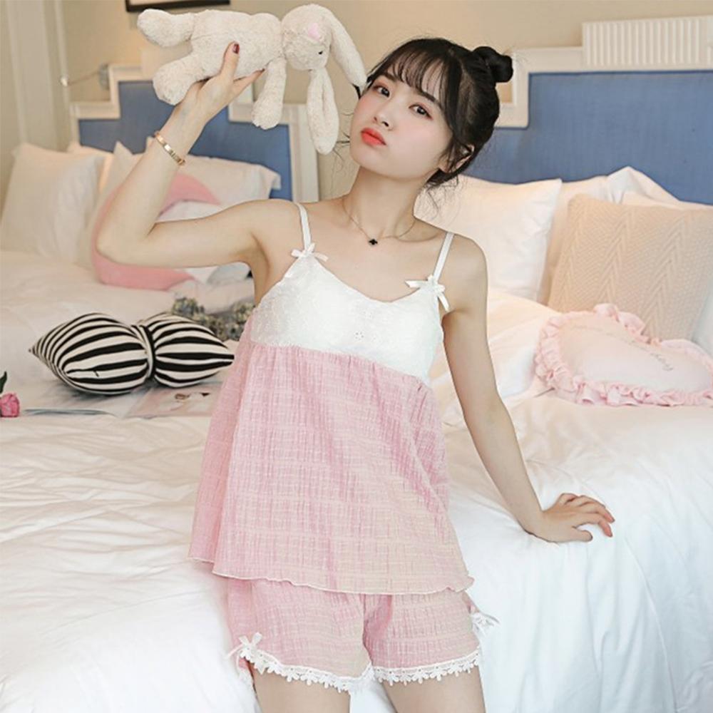 Wonderland 韓版小清新100%棉麻免穿Bra睡衣褲組(2色)