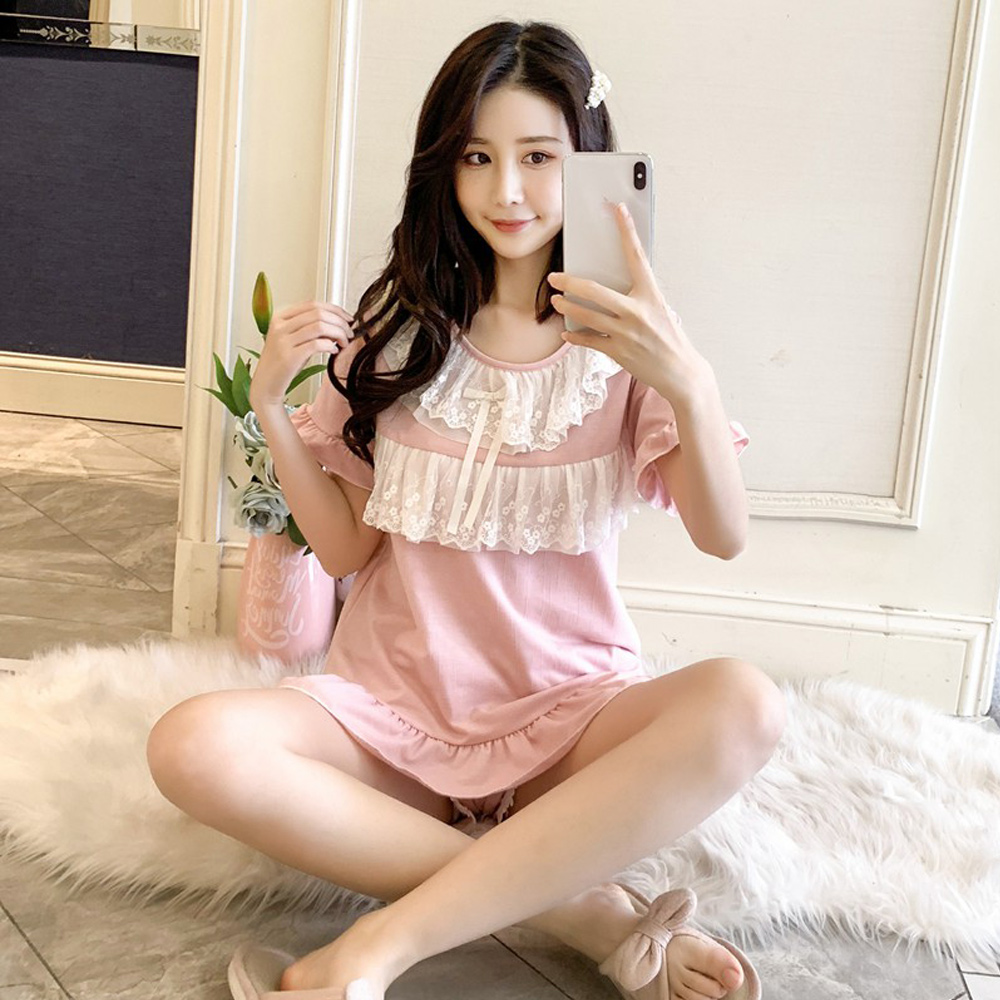 Wonderland 夏日公主風100%棉睡衣褲組