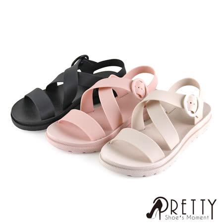 Pretty 圓形皮釦防水涼鞋