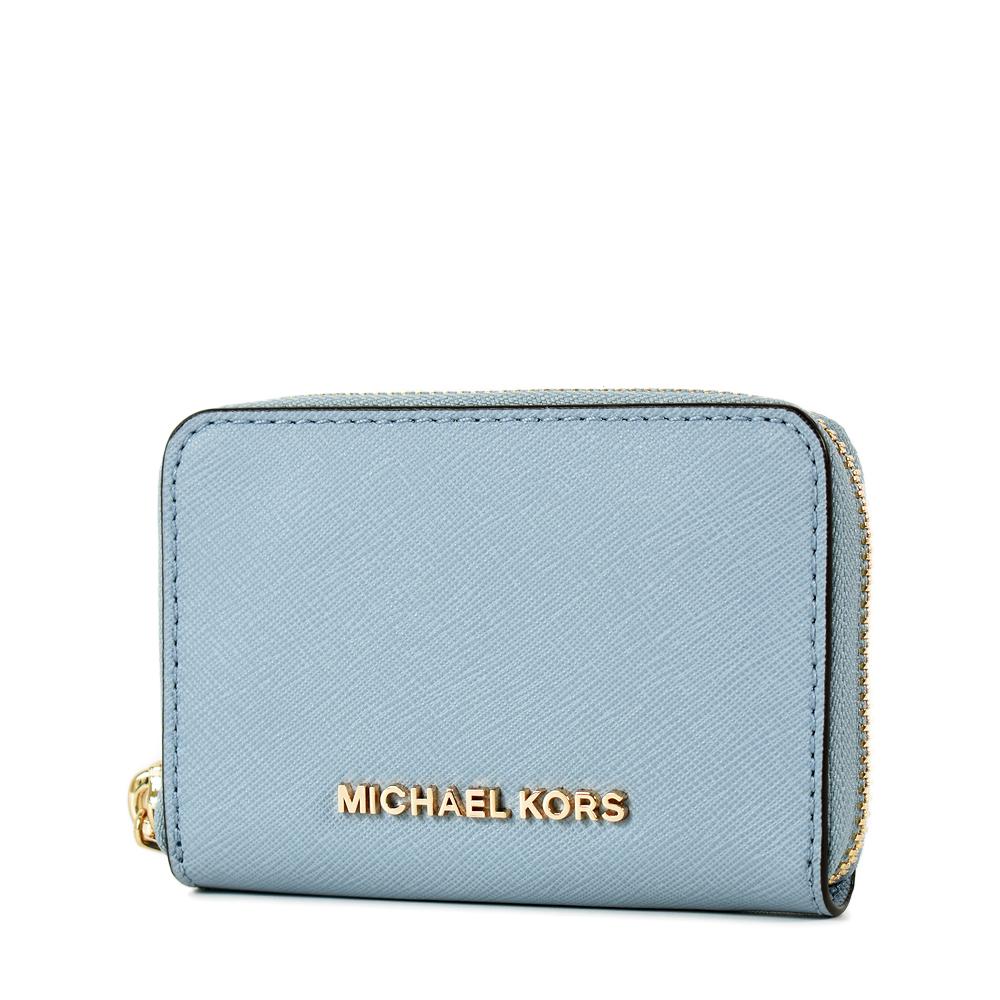 MICHAEL KORS 金字防刮皮革雙層置物拉鍊零錢包-水藍色