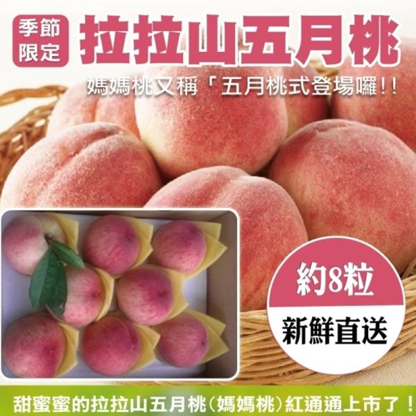 【產地直送】拉拉山五月水蜜桃8入(2盒/每盒約1.3kg±10%含盒重)