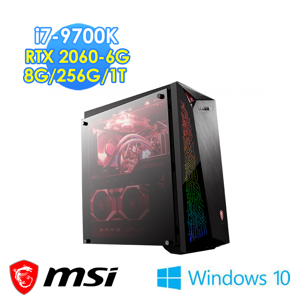 msi微星 Infinite X Plus 9SC-407TW電競桌機(i7-9700K/8G/256G+1T/RTX2060-6G/WIN10)