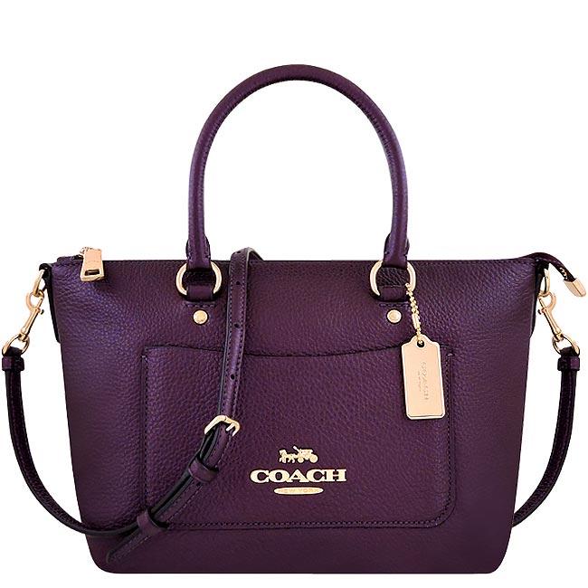 COACH 光澤皮革手提/斜背兩用包-紫色