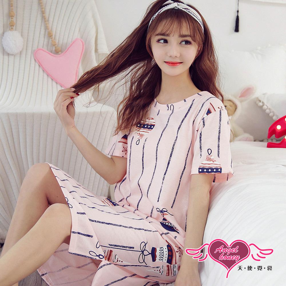 【天使霓裳】居家睡衣 溫馨裝飾 短袖一件式連身成套休閒服(粉F)
