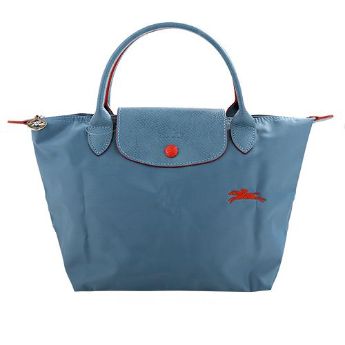 LONGCHAMP- LE PLIAGE小馬logo短把尼龍手提包(天藍)S