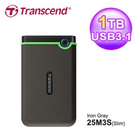 創見 StoreJet 1TB 25M3 USB3.0 2.5吋行動硬碟(TS1TSJ25M3S) 亮綠