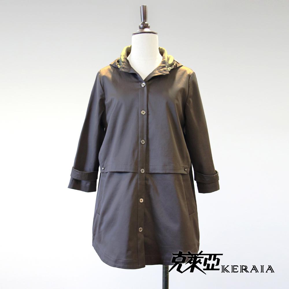 【KERAIA 克萊亞】100%棉連帽拼接風衣長版外套