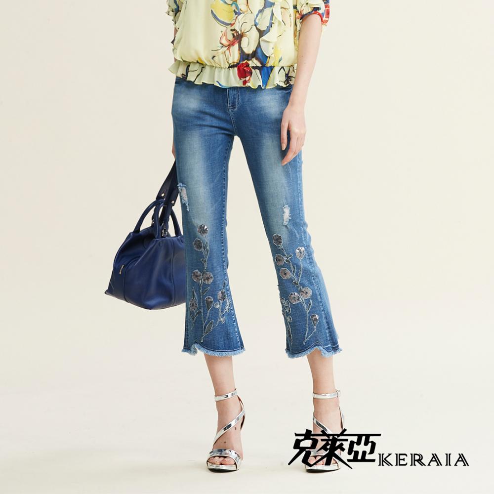 【KERAIA 克萊亞】亮片繡花刷色彈力喇叭褲