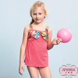 AMANDA艾曼達 女童泳裝 連身裙-活麗黃(M-XL附帽)