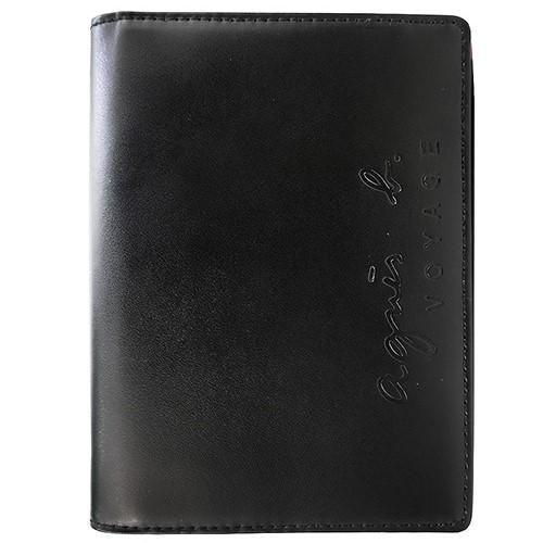 agnes b.烙印LOGO皮革護照夾(黑)