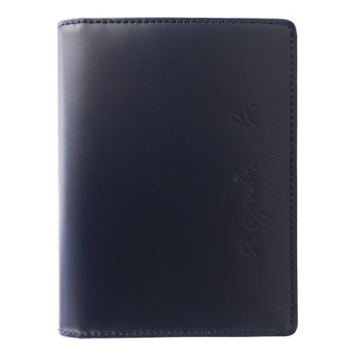 agnes b.烙印LOGO皮革護照夾(深藍)