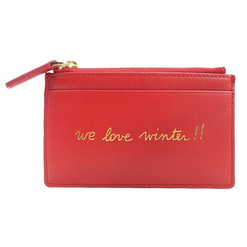 agnes b.手寫燙金零錢票卡夾(紅)