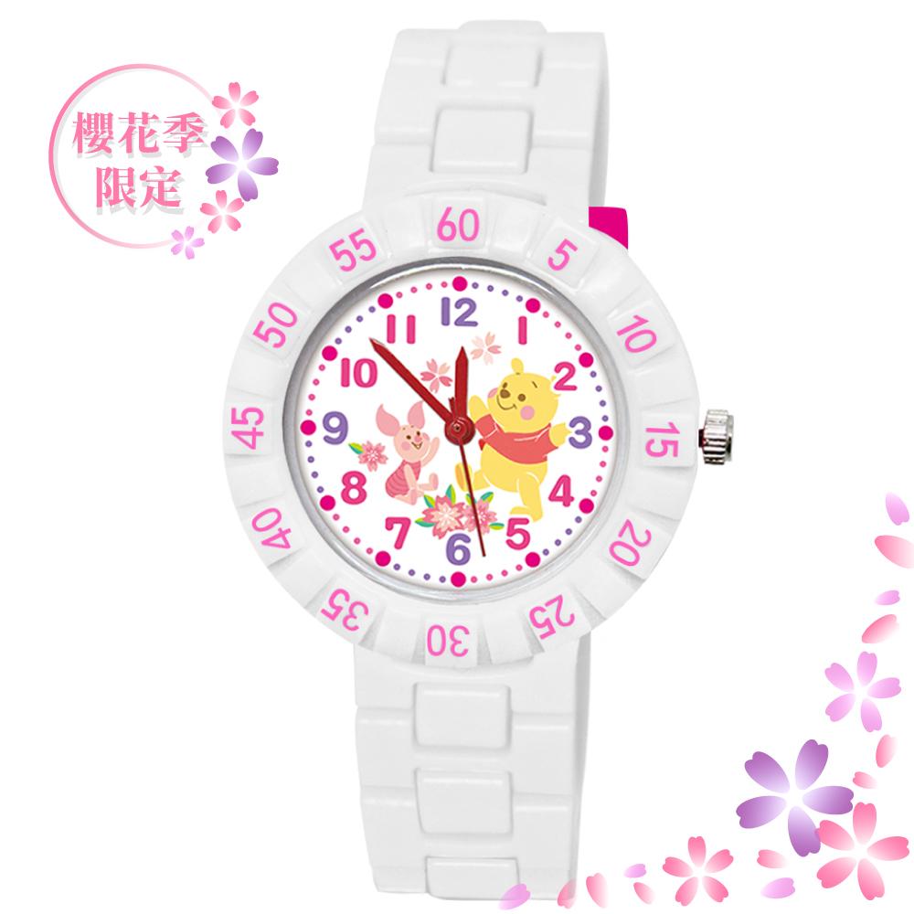 【Disney 迪士尼】 迪士尼櫻花季 系列手錶 - 櫻花紛飛 小熊維尼、小豬 白色 (期間限定)