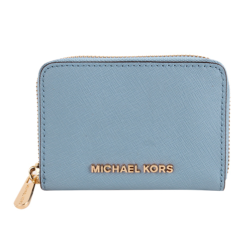 MICHAEL KORS- 金字防刮皮革卡片夾包(天空藍色)
