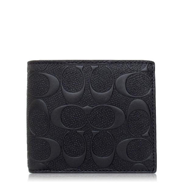 COACH 壓紋皮革 / 附零錢袋 / 雙摺短夾_黑色