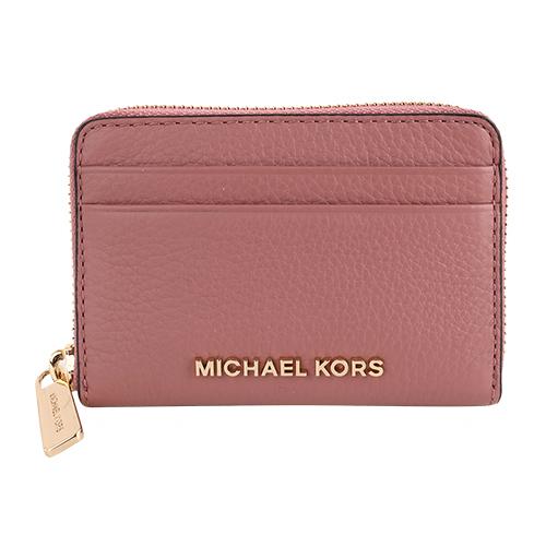 MICHAEL KORS- 金字荔枝紋皮革卡片夾包(胭脂粉)
