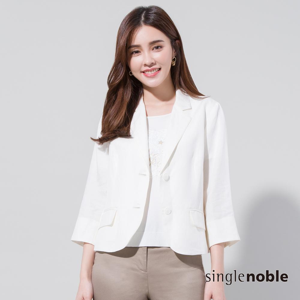 獨身貴族 自然空靈短版棉麻西裝外套(2色)