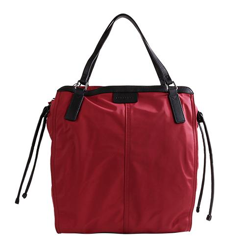 BURBERRY- 皮標LOGO 側束帶尼龍直式拉鍊手提/肩背包(內格紋/紅)