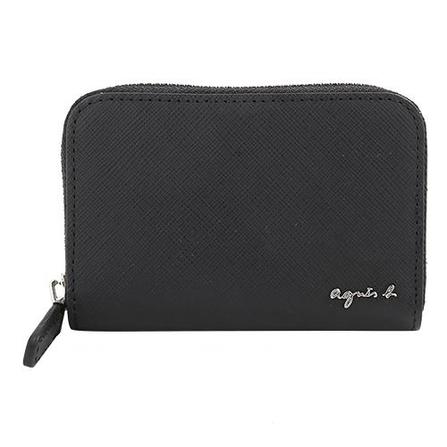 agnes b.- VOYAGE 草寫銀字logo 防刮皮革拉鍊附鑰匙圈零錢包(黑)