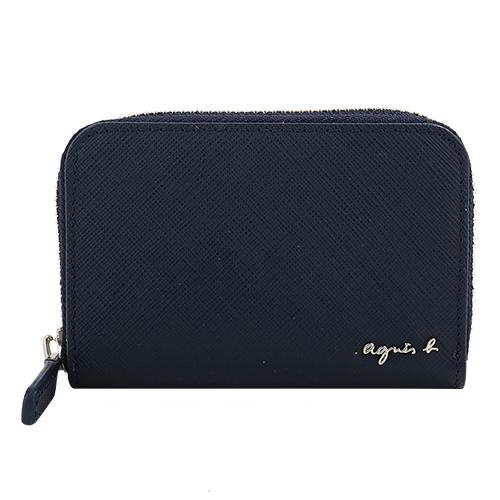 agnes b.- VOYAGE 草寫銀字logo 防刮皮革拉鍊附鑰匙圈零錢包(海軍藍)