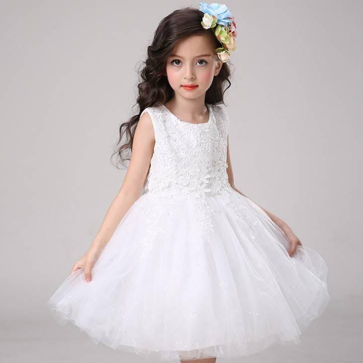 韓版《蕾絲花朵款-白色》紗裙/畢業典禮/花童/宴會/禮服/婚紗裙 正式場合必備款