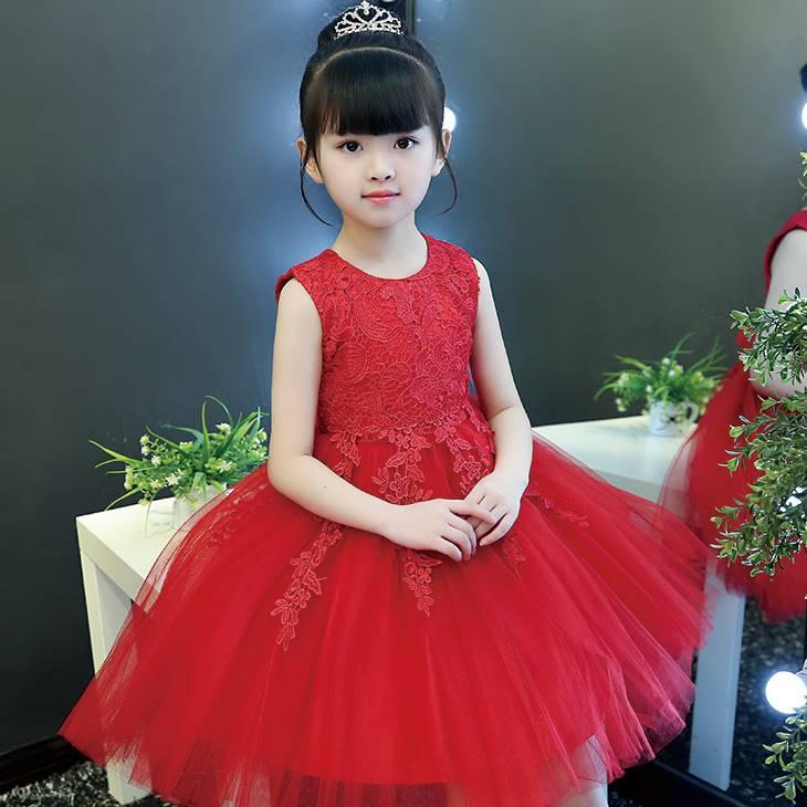 韓版《蕾絲花朵款-紅色》紗裙/畢業典禮/花童/宴會/禮服/婚紗裙 正式場合必備款