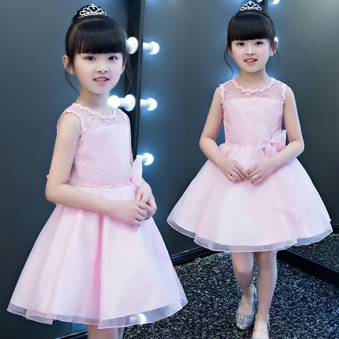 韓版《蕾絲鏤空款-粉色》紗裙/畢業典禮/花童/宴會/禮服/婚紗裙 正式場合必備款